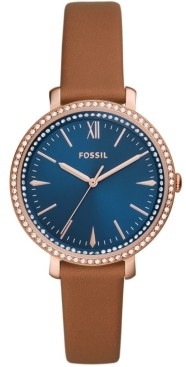 Fossil Women's Jacqueline Brown Leather Strap Watch 36mm