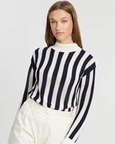 Maison Scotch Classic High Neck Striped Pullover with Embroidery Detail