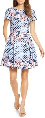 Brinker & Eliza Floral Dot Scuba Crepe Fit & Flare Dress