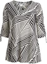 Glam Black & White Geometric Tie-Sleeve Tunic - Plus