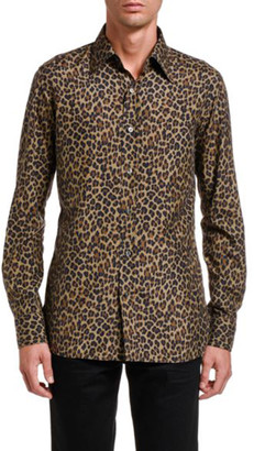 Tom Ford Men's Silk Leopard-Print Sport Shirt