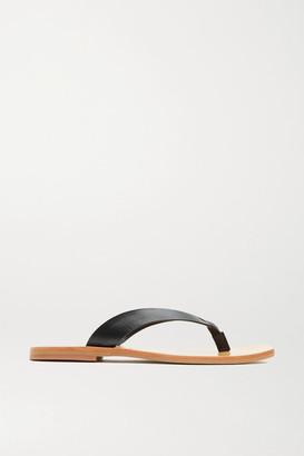 ST. AGNI Basik Leather Flip Flops - Black