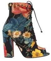 Fausto Puglisi Women's Floral Print Lace-up Bootie Fiori Rose Nero Fabric Size.