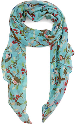 East Cloud Women's Accent Scarves AquaRed - Aqua & Red Floral Bird Scarf