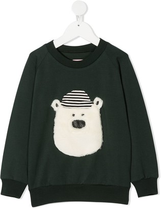Wauw Capow By Bangbang Hello Teddy applique sweatshirt