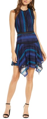 Adelyn Rae Kristyn Striped Lace Cocktail Dress