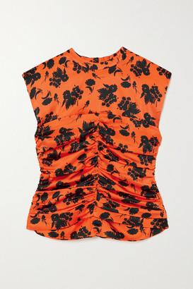 Ganni Ruched Floral-print Silk-blend Satin Top - Orange