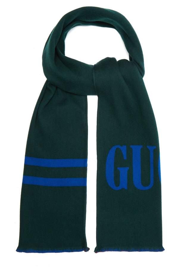Gucci Reversible logo-jacquard wool and silk-blend scarf