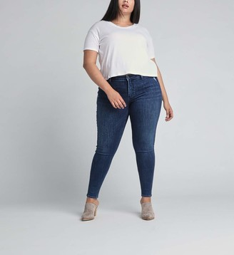 Silver Jeans Co. Women's Plus Size Most Wanted Mid Rise Skinny Fit Jeans