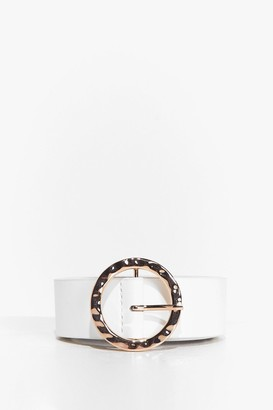 Nasty Gal Womens Thank U Text-ure Faux Leather Belt - White
