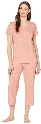 Karen Neuburger Island Breeze Short Sleeve Henley Capris PJ (Geo Apricot Blush) Women's Pajama Sets