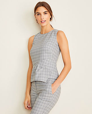 Ann Taylor The Draped Shell in Plaid