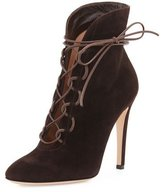 Gianvito Rossi Empire Suede Lace-Up 105mm Bootie, Moka