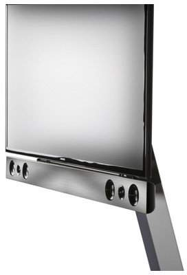 "VCM TV Pedestal + Soundbar Holder Presentation Bracket Stand 32""-70""""SBM800 Swivel Silver/Black Glass"