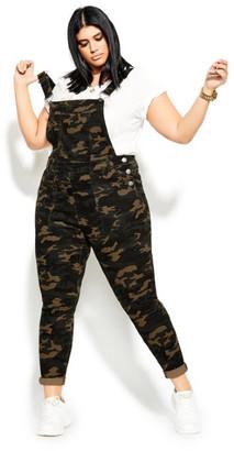 City Chic Camo Overall Jean - military