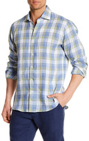 Toscano Long Sleeve Regular Fit Plaid Linen Shirt