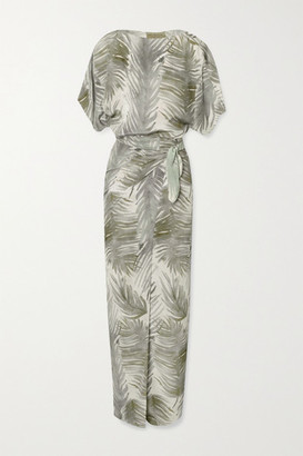 Cortana Cuba Wrap-effect Printed Silk Maxi Dress - Army green