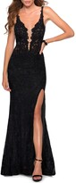 Thumbnail for your product : La Femme Stretch Lace Column Gown with Thigh-Slit