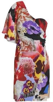 Roberto Cavalli One-Shoulder Embellished Floral-Print Silk Crepe De Chine Mini Dress