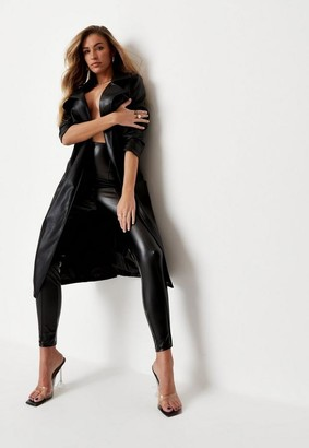 Zara Mcdermott X Missguided Black Faux Leather Self Belted Trench Coat