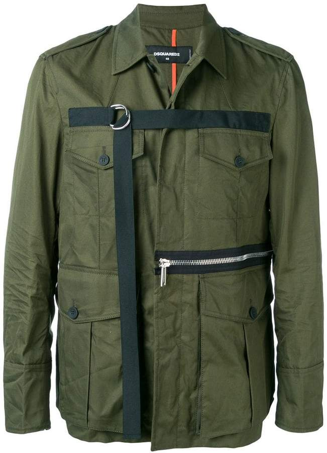 a3d5a44f652b Mens Zip-detail Military Jacket - ShopStyle
