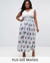 Elvi Plus Pleated Maxi Skirt In Floral Print