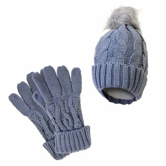 Socksmad Ladies Heat Machine Thick Warm Winter Cable Knit Soft Thermal Hat & Gloves Set (Grey)