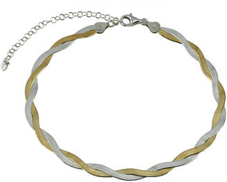 Argentovivo 18K Over Silver Flat Herring Bone Chain Choker Necklace