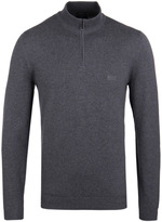 Boss Igor Dark Grey Zip Neck Knit Sweater