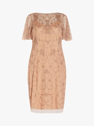 Adrianna Papell Size Floral Embroidered Mesh Dress, Rose Gold