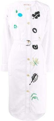 Marni Floral Print Belted Shirt Dress