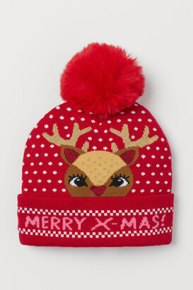 H&M Knit Hat with Pompom - Red