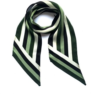Ingmarson Henley Silk Stripe Neck Scarf Green