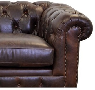 "Brompton Newbury Genuine Leather Chesterfield 74"" Rolled Arm Sofa Westland and Birch Fabric Brown"