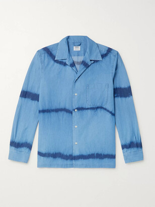 Aspesi Camp-Collar Tie-Dyed Cotton-Chambray Shirt