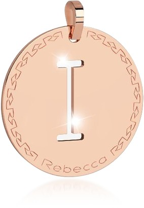 Rebecca Rose Gold-plated Bronze I Charm W/Rhodium-plated Necklace