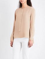 Theory Ladies Malt Round Button fastening Isalva Band-Collar Silk Shirt
