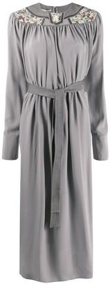 Stella McCartney Floral-Panel Belted Midi-Dress