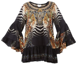 Camilla Lost Paradise-print Bell-sleeve Silk-crepe Dress - Black Multi
