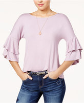 Ultra Flirt Juniors' Tiered Ruffle-Sleeved T-Shirt