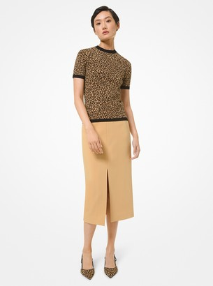 Michael Kors Collection Stretch Crepe Slit Pencil Skirt