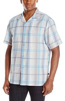 Stacy Adams Men's Linen-Blend Yarn-Dyed Print Short-Sleeve Shirt Plaid