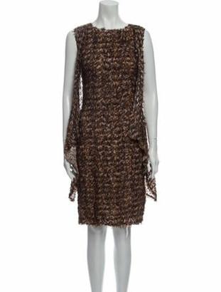 Fendi Silk Knee-Length Dress w/ Tags Brown