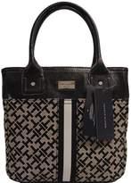 Tommy Hilfiger Small Tote Bag Handbag Purse (Black / Beige)