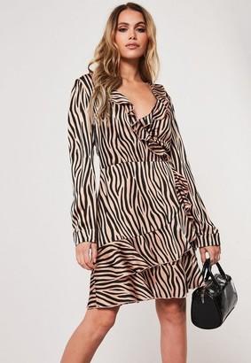 Missguided Tall Brown Animal Print Satin Wrap Frill Dress