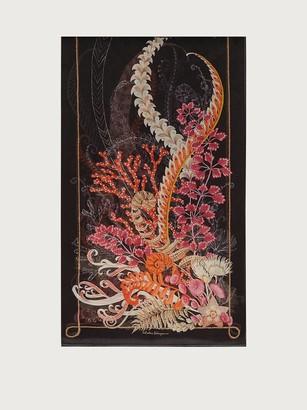 Salvatore Ferragamo Women Atlantis printed silk scarf Black