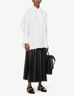 Givenchy Pleated high-waisted faux-leather midi skirt