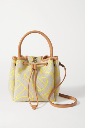 Burberry Small Leather-trimmed Printed Canvas Bucket Bag - Yellow