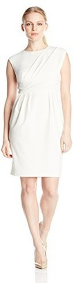 Adrianna Papell Women's Petite Pleated Side Swag Sheath Dress