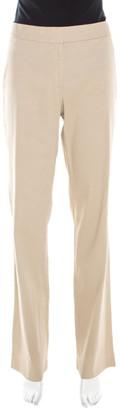 Elie Tahari Beige Linen Stretch Straight Fit Trousers M